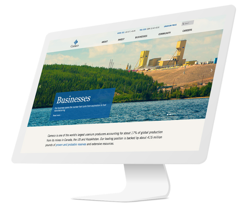 Cameco website viewed in iMac desktop screen